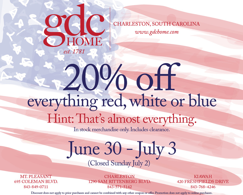 Red, white and blue, July 4th sale from June 30th – July 3rd at GDC Home
