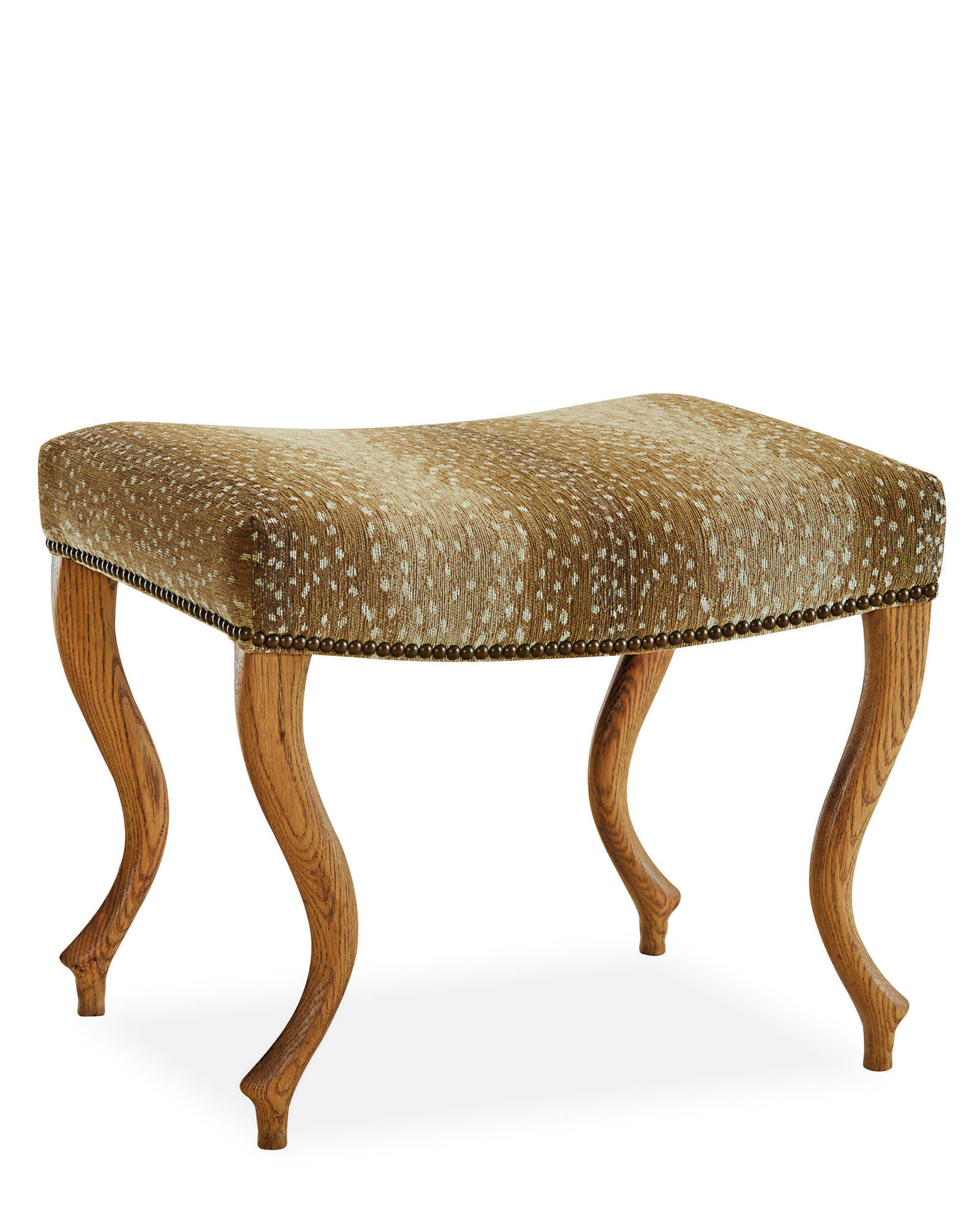 The Graham Ottoman with antelope hide upholstered seat