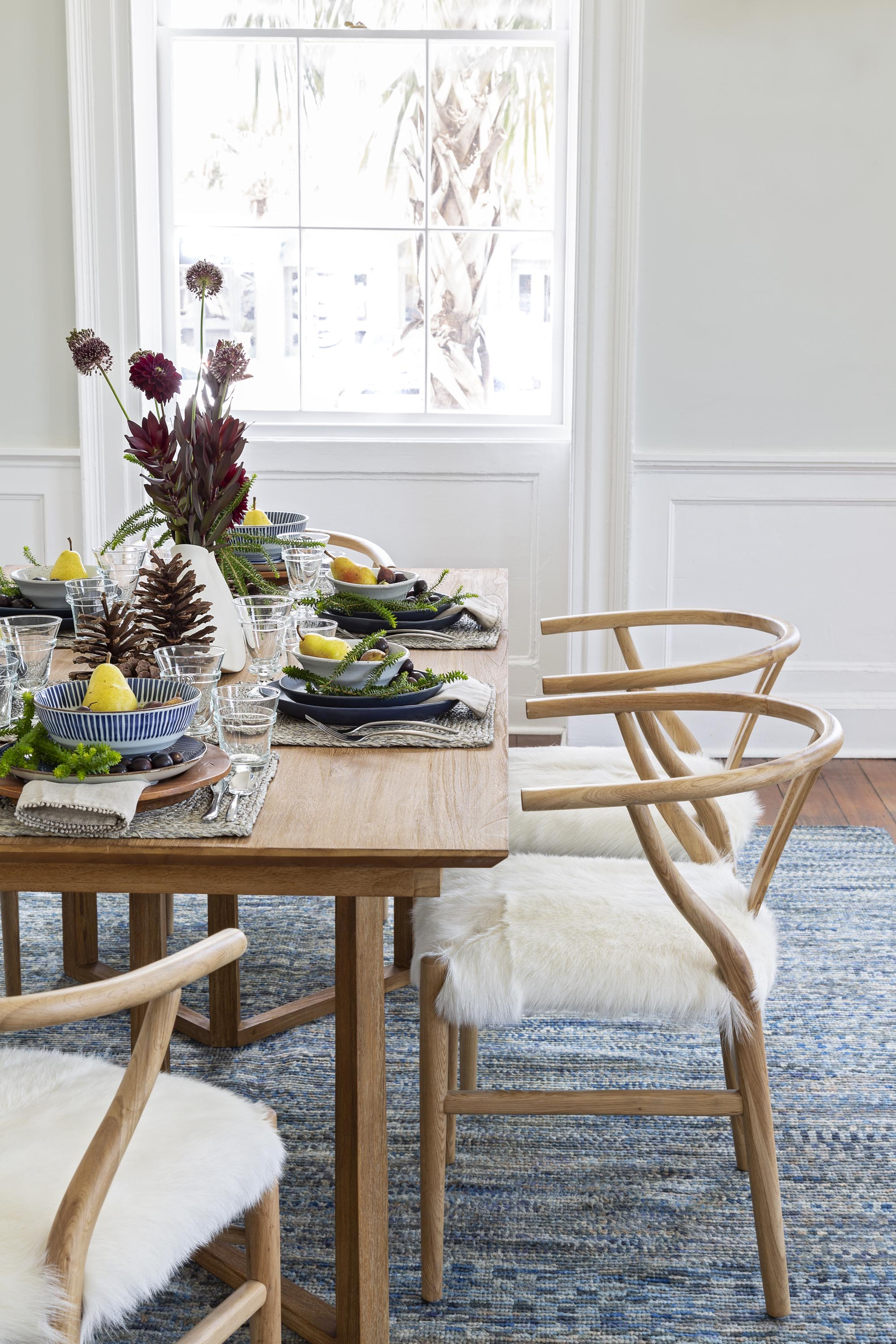 Gadsen dining room chairs with animal hide upholstered seat