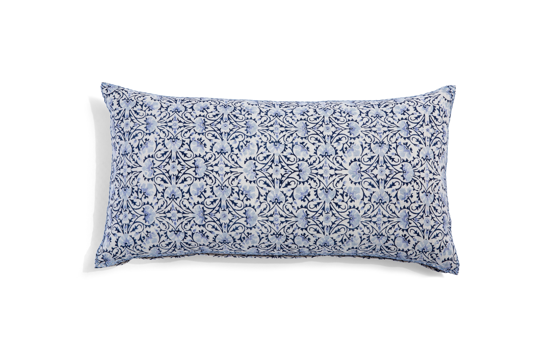 Torana Indigo long pillow with blue swirl design