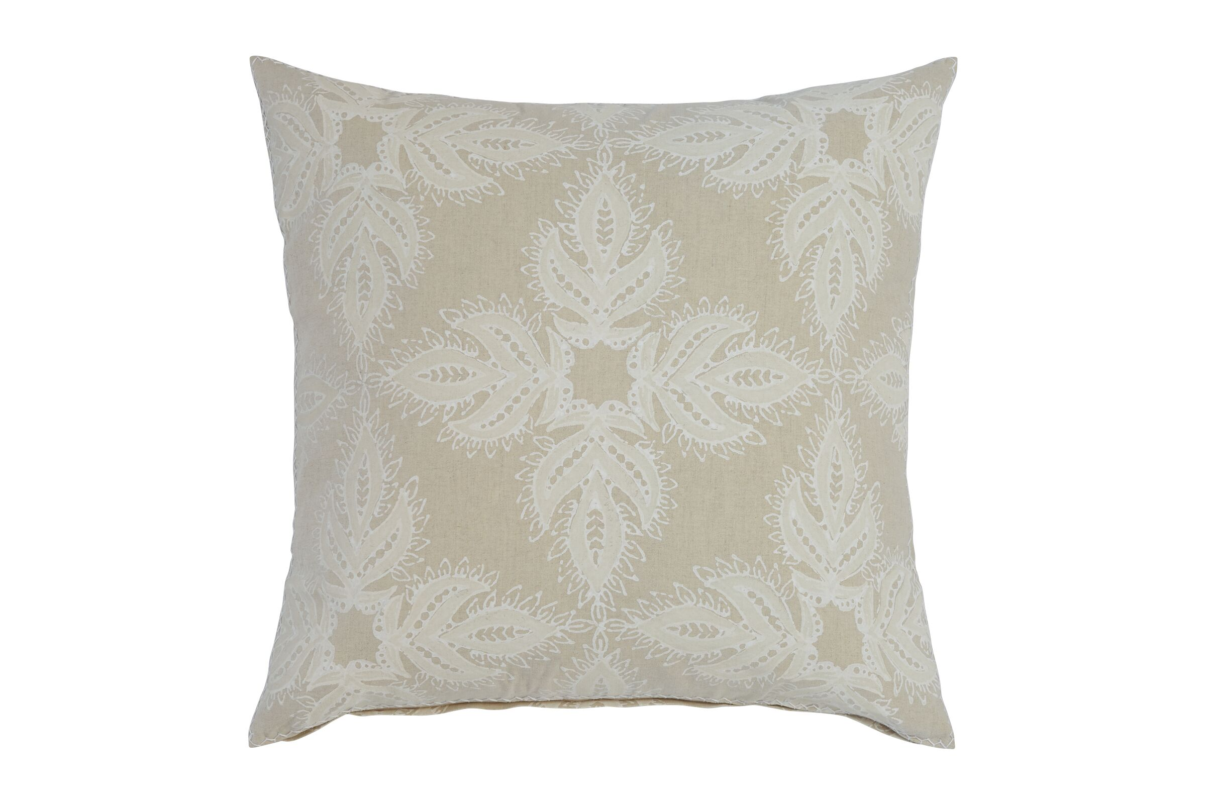 tan pillow with white textured design