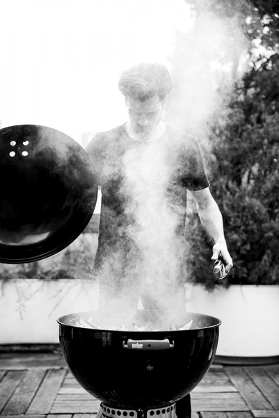 man grilling, black and white