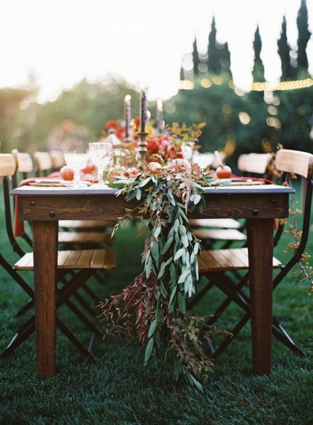 Outdoor harvest fall weding table scape
