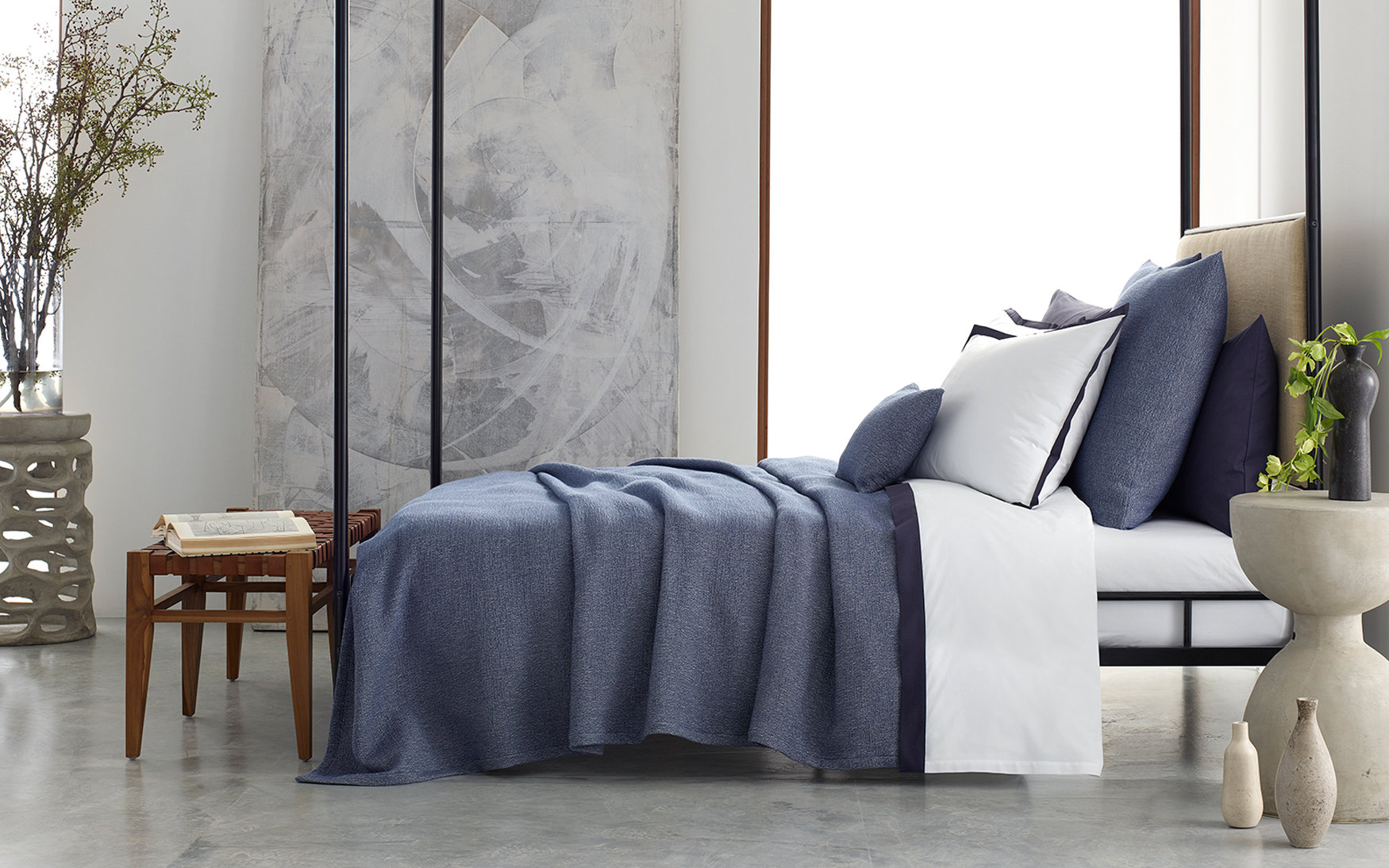 Pacific blue coverlet bedding