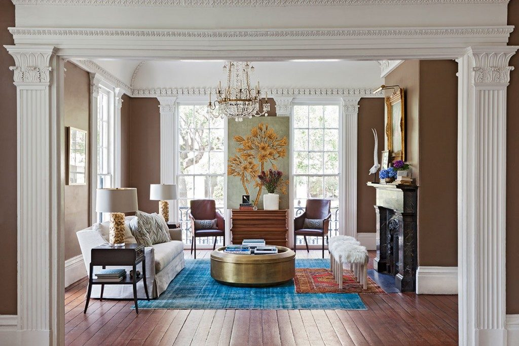 brilliant light blue rug in large living room