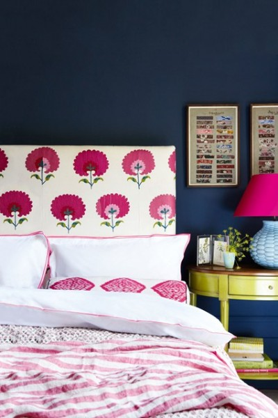 Navy pink and white. Floral headboard. Simple square