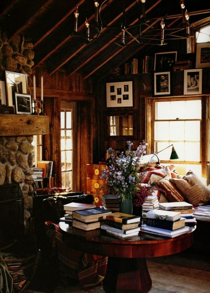 warm clutered cabin library