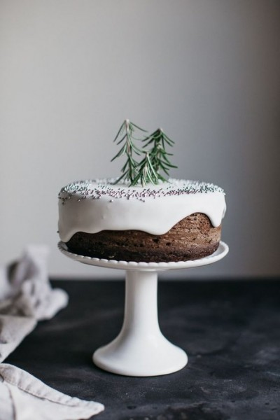 Cake with rosemary trees and silver ball sprinkles