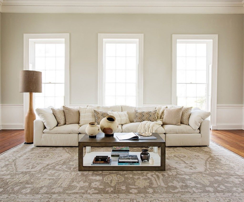 neutral-toned rug in large living room