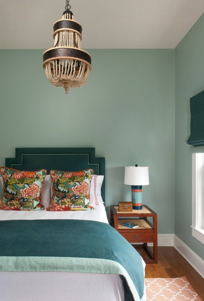 Aqua headboard with aqua walls