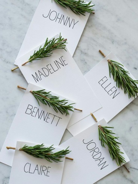 place tags with rosemary