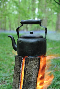 iron kettle on a log fire