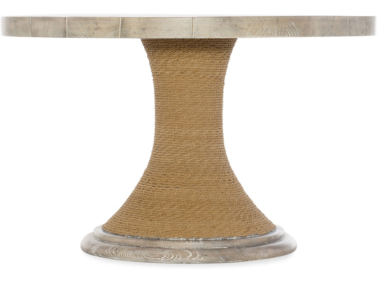 Side view amani round pedestal dining table