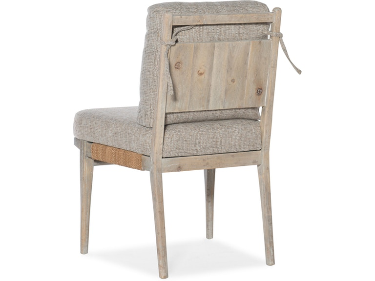 back view of natural upholstered pair of side chairs
