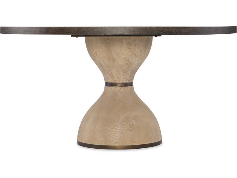 side view of hourglass shape wood base on round dining table