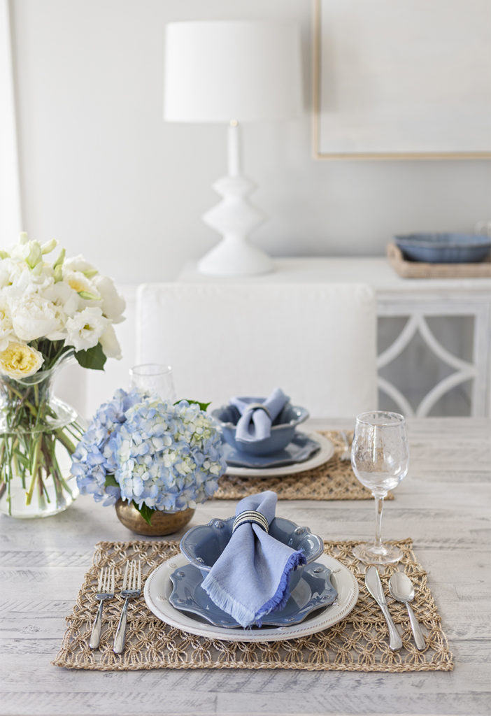 hydrangea blue place setting in white dining room