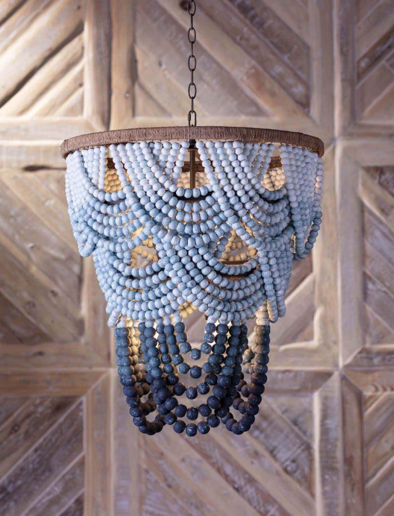 beaded blue chandlier