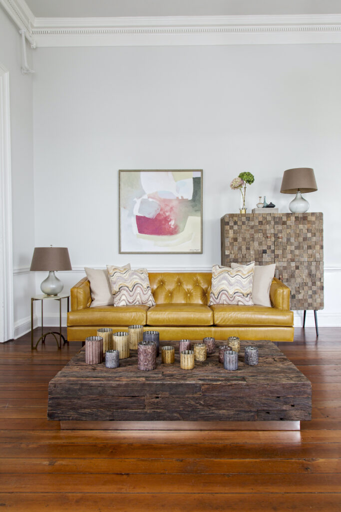 Yellow Leather Upholstery on Modern Couch