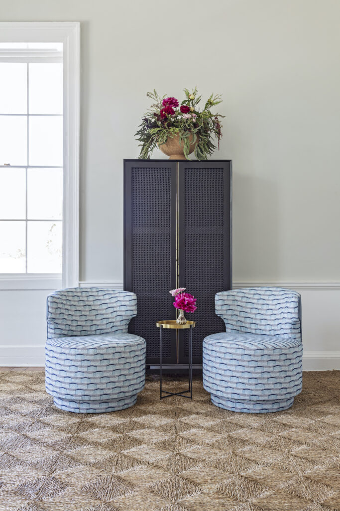 Blue Upholstery on Matching Chair Set